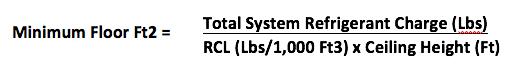 ASHRAE 15 minimum square feet formula