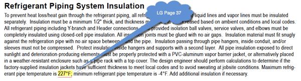 LG Refrigerant Piping Insulation Temperature Rating